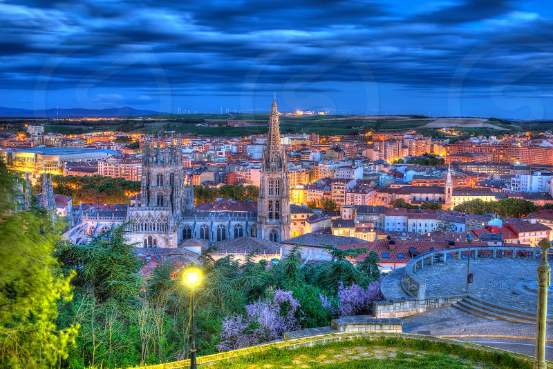 Burgos aerial view skyline sunset with Cathedral in Castilla Leon of Spain photo