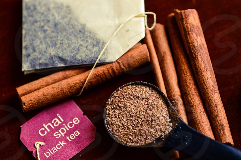 cinnamon spices herbs black tea chai tea morning sticks photo