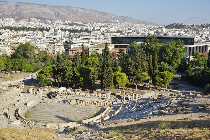 The ancient Theatre of Dionysus in Athens Greece photo