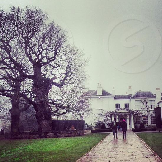 Couple walking old house tree rainy winter day photo