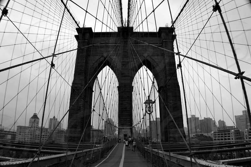 Brooklyn Bridge New York black and white symmetry lines angles photo