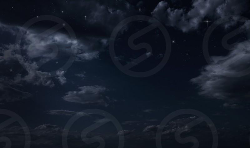 Night starry sky. Night cloudy sky photo