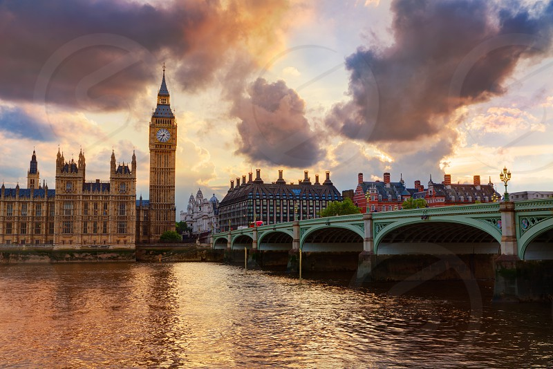 Big Ben Clock Tower London at Thames River England photo