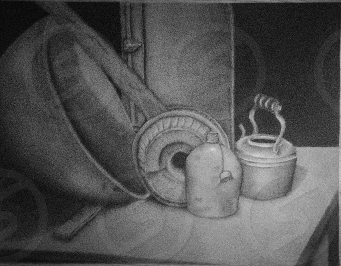 Still life done in charcoal photo