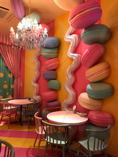 Indoor day colour vertical portrait Harajuku Tokyo Japan east eastern Far East far eastern Orient city urban buildings architecture detail travel tourism tourist wanderlust kawaii Kawaii Monster Cafe colourful bright vibrant vivid dining fun crazy fantasy mirrors mirrored lighting quirky fun glow illuminated illumination glow oversized decor parlour strawberries forks Lips chandeliers polka dot dots spots macaroons macaron photo