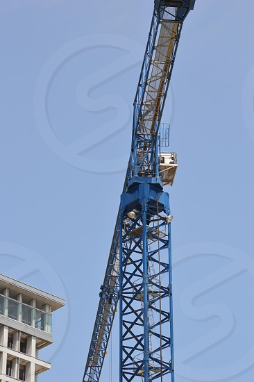 blue and white metal crane photo
