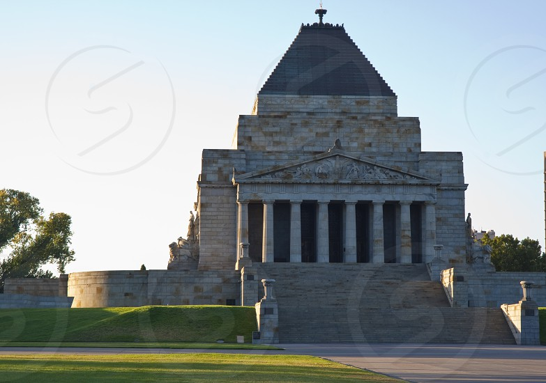 First light at the Melbourne Shrine of Remembrance war memorial Melbourne Australia. photo