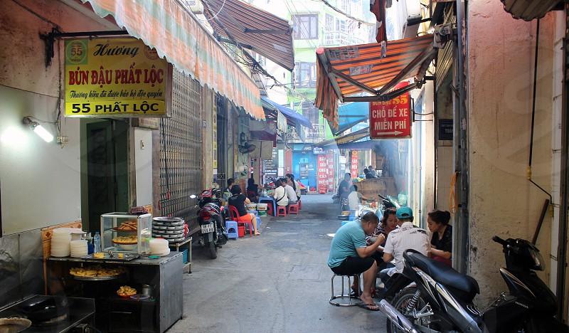 Hanoi side street street life photo