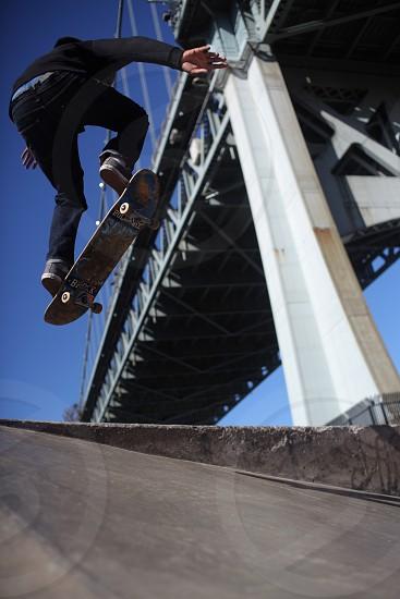 bridge new york astoria verrazanoskateboard skating ollie sports action extreme sports photo