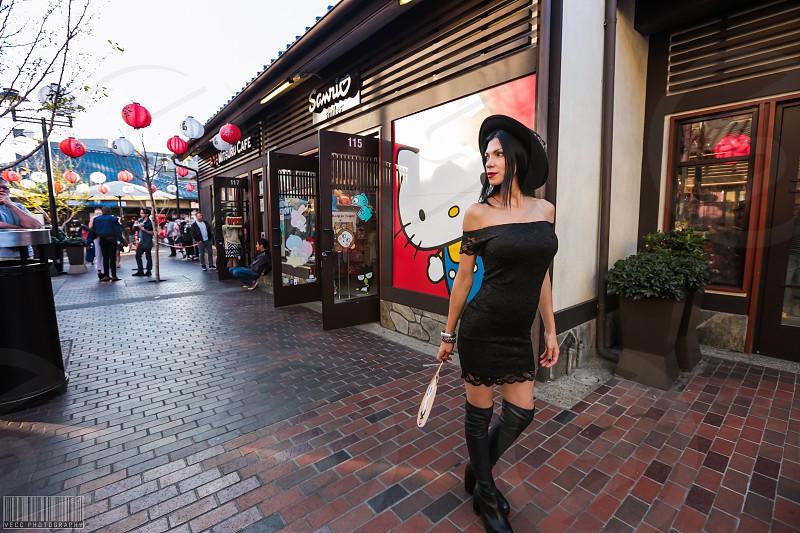 Japanese little Tokyo model brunette outfit fan street photo