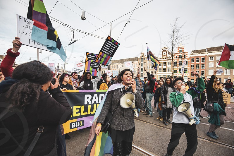 Amsterdam Holland 23/03/2019: People demonstrating during an anti racist procession in the city centre of Amsterdam photo