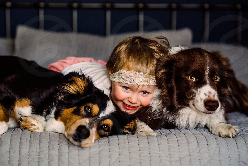 Cuddles in bed with pups are the best. Added a little bed jumping for fun. photo