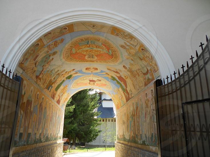 Church entrance murals God photo
