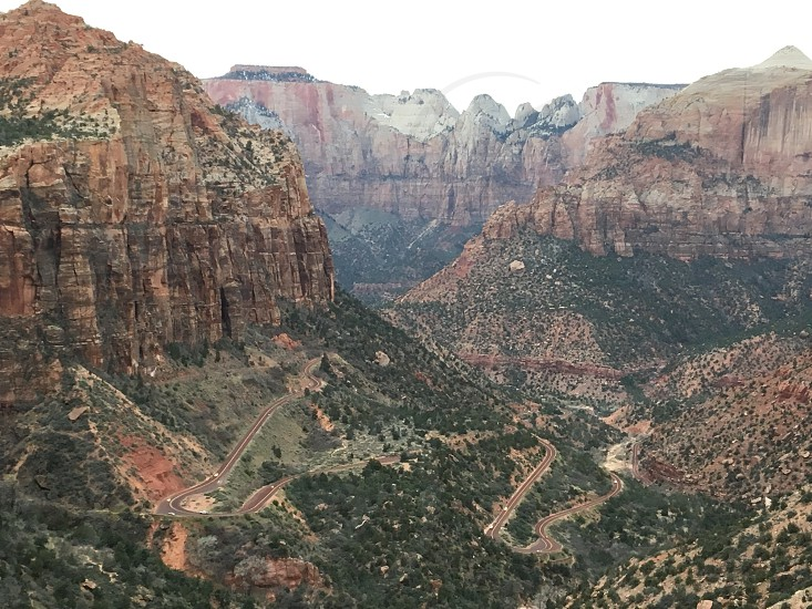 Zion National Park Travel Road Trip Mountains Canyon Overlook Trail photo