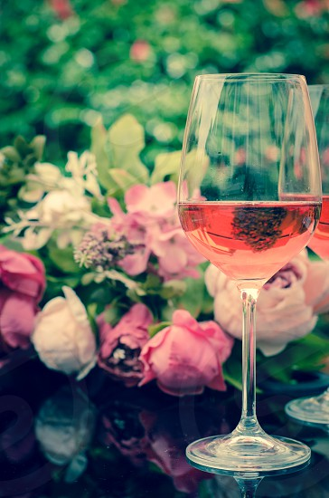 rose wine wine glasses summer summertime garden garden party refreshing pink photo