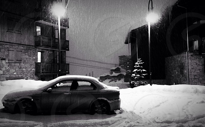Car in the snow photo