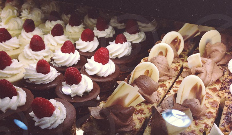 Sweet arrangement of hand-made desserts in a local coffee shop in Washington DC. photo