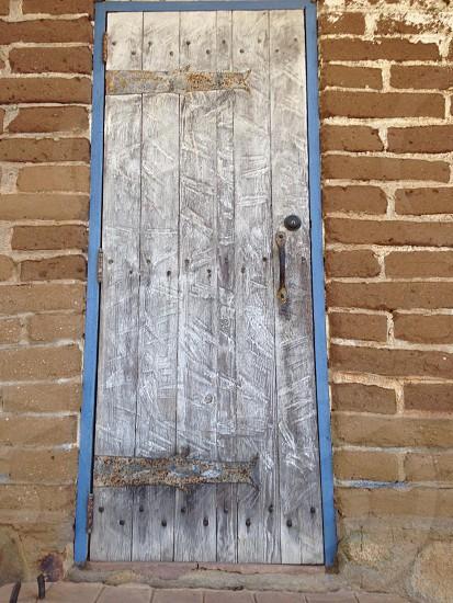 Door from old brick building photo