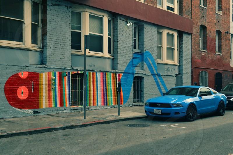 San Francisco Mural Man Car Blue photo