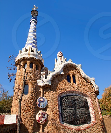 Barcelona Park Guell Gingerbread House of Gaudi modernism fairy tale photo