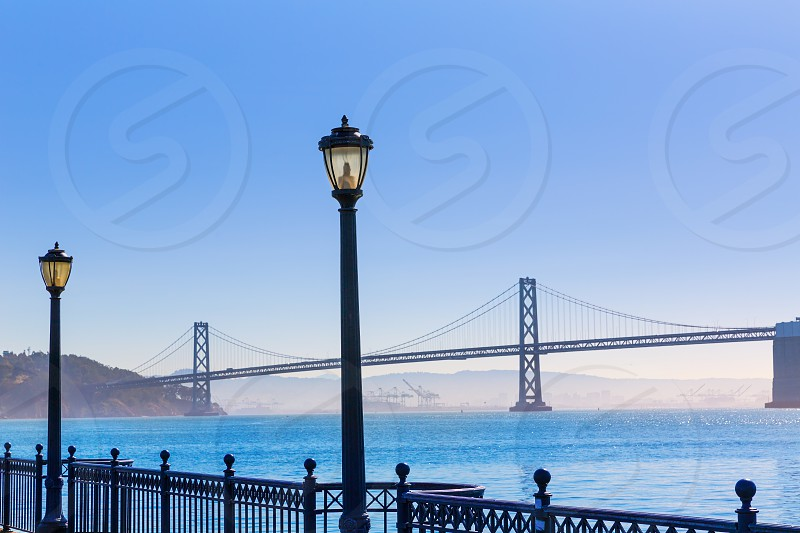 San Francisco Bay bridge from pier 7 in California USA photo