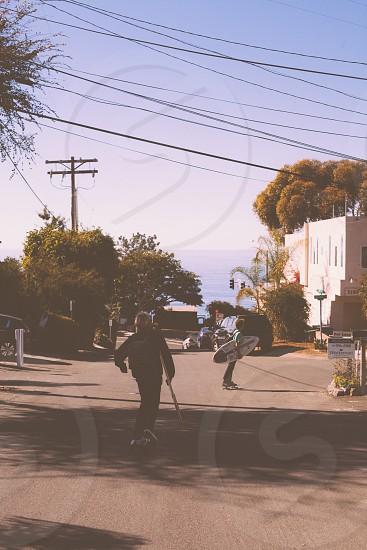 white black skateboard photo