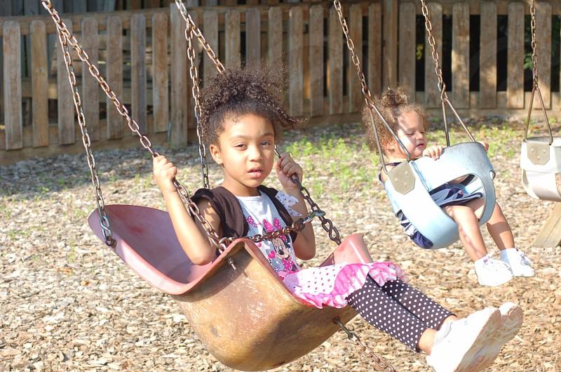 girls swinging on the swings photo