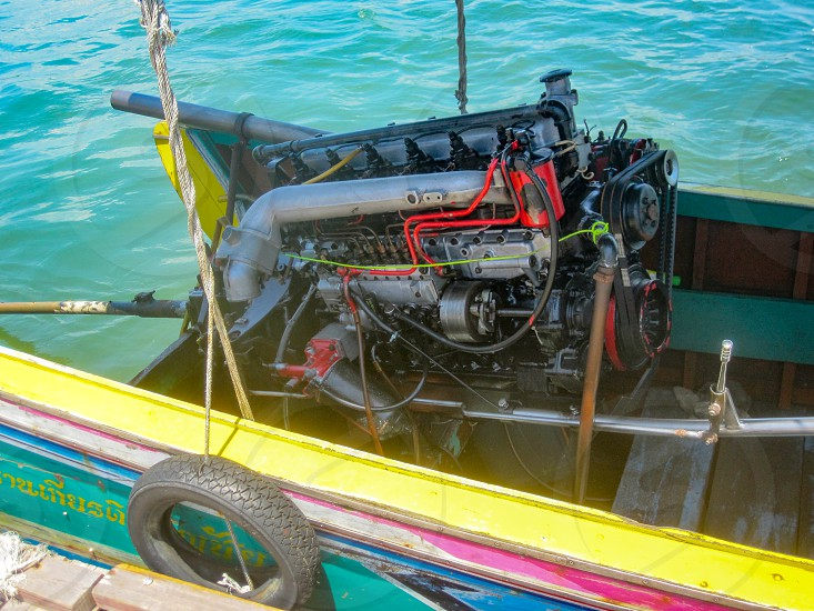 Long tail boat engine straight-six Thailand photo