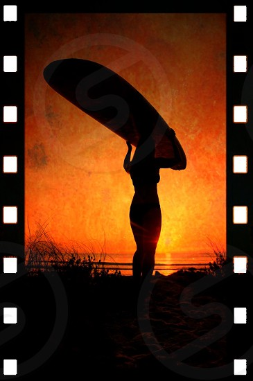 Surfer girl silhouette longboard female sunrise artistic abstract inspirational  photo