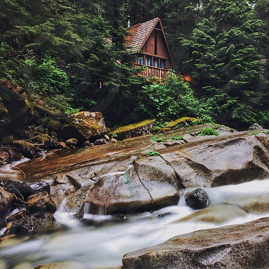 time lapse photo of a brown wooden house surrounded by green forest's trees near clear water current photo