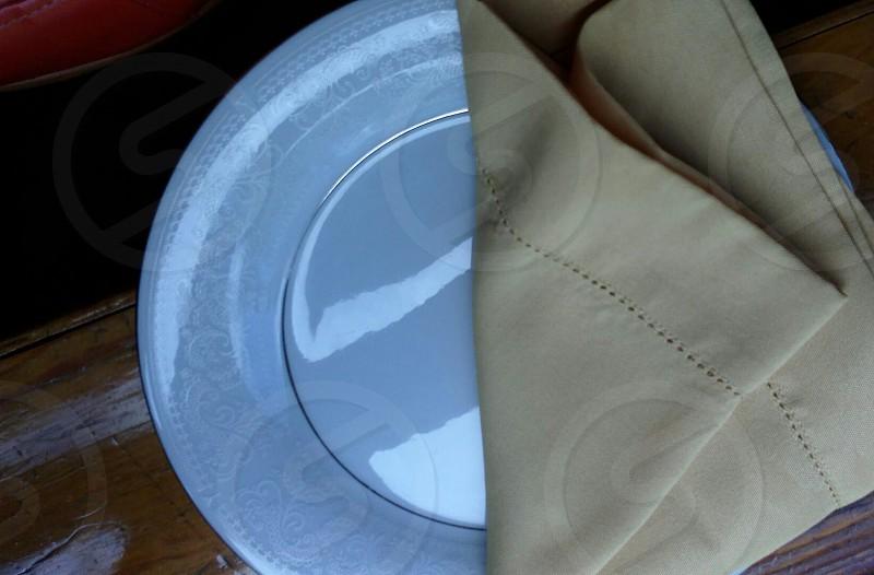 Tan Napkin on Grey Plate photo
