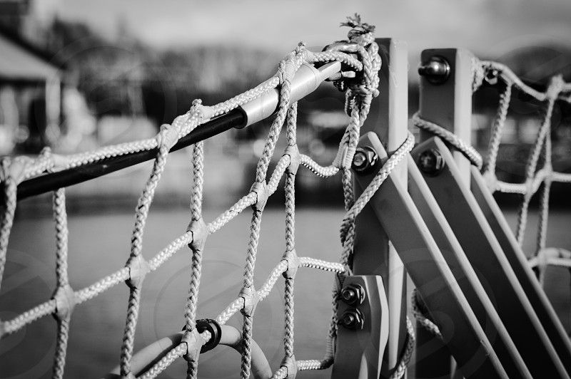 grayscale photography of tennis net photo