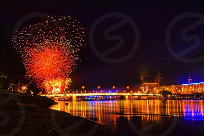 Linz Austria fireworks night life river. photo