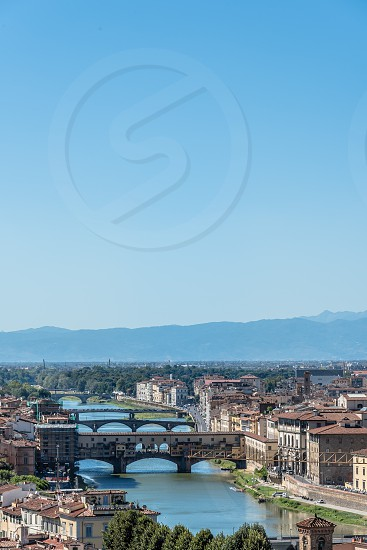 Florence Cityscape from Michelangelo Piazzale. The square is dedicated to the Renaissance sculptor and is a famous tourist attraction photo