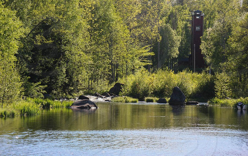 The shore at small town named langvindsbruk on the north of Sweden a travel destination  photo