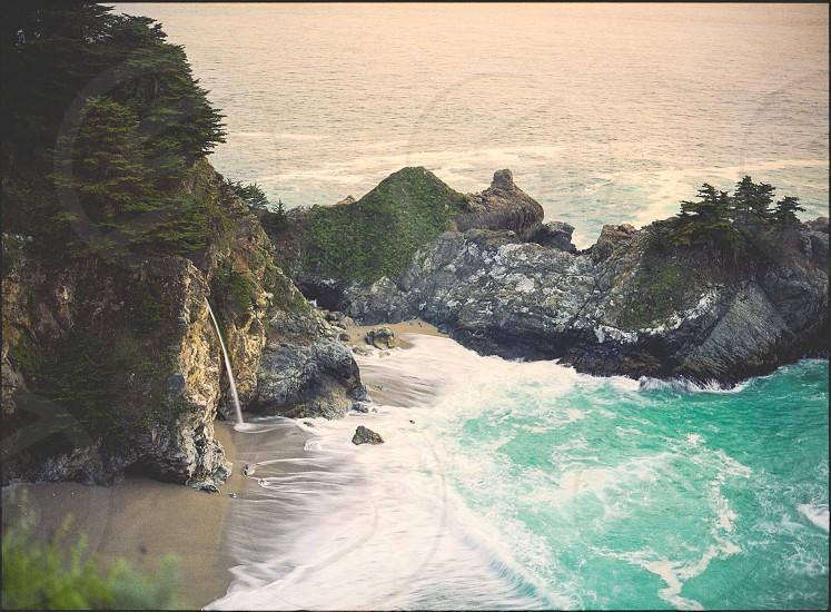 Big Sur California Beach coast waterfall  photo