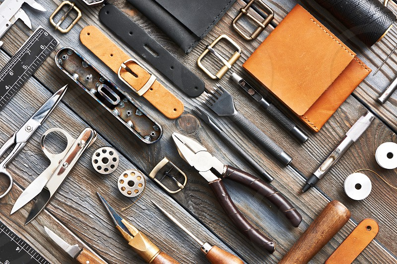 Leather crafting DIY tools flat lay still life  photo