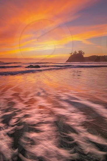 Sunset at a Rocky Beach Northern California USA photo