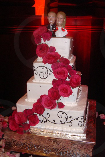 Wedding cake with Bobble Head topper photo