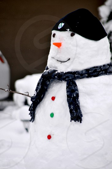 Snowman with colorful buttons photo