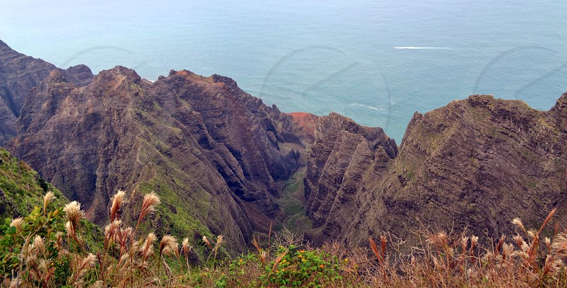 Nualolo Valley Napali Coast Cliffs Ocean Grass photo