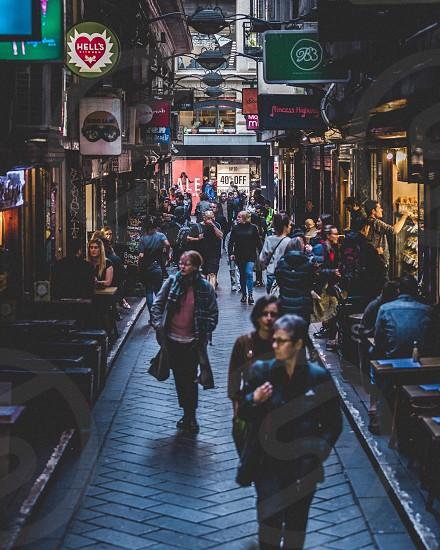 Cafes laneways Melbourne cafe culture winter rugged up cafe alleyways cold restaurants  photo