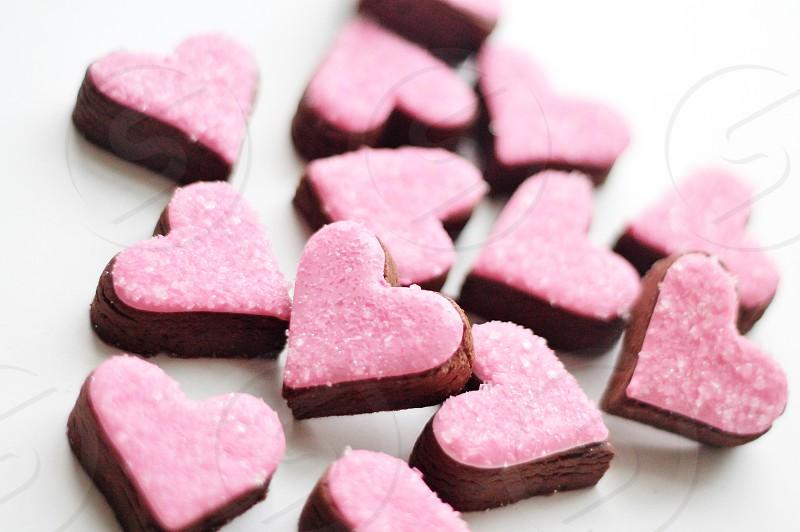 Pink heart valentine cookies  photo