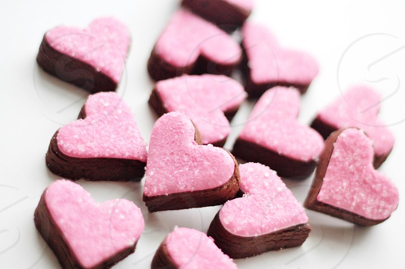 Pink heart cookies  valentine's day sweets. photo