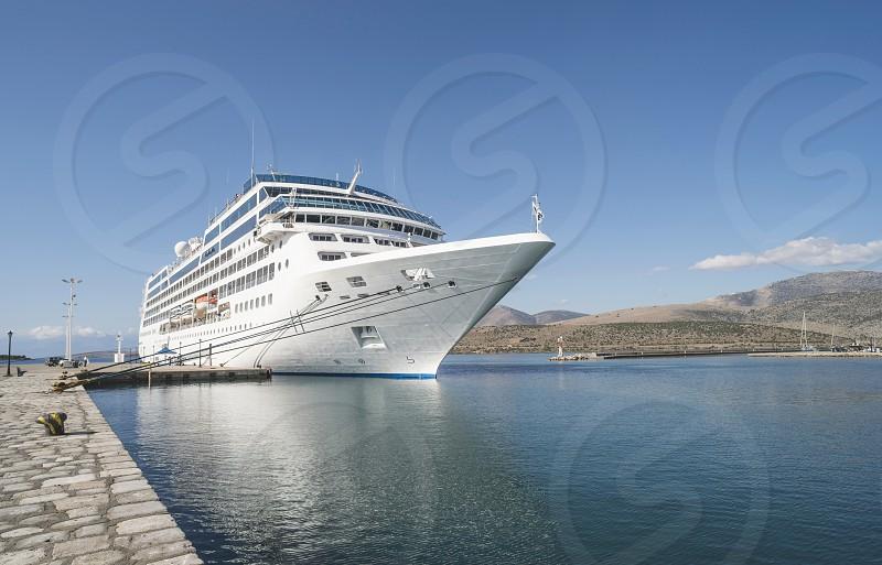 Big white cruise ship. Synny day. Greece photo