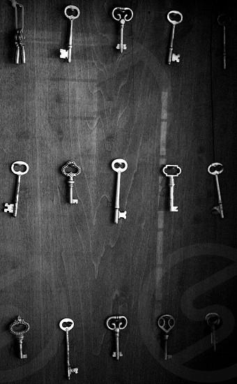 Antique keys in shadow box photo
