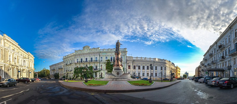 ODESSA UKRAINE - 08.09.2018. Catherine Square and Monument to empress Catherine the Great in a summer morning photo