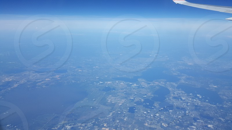 The horizon from the air photo