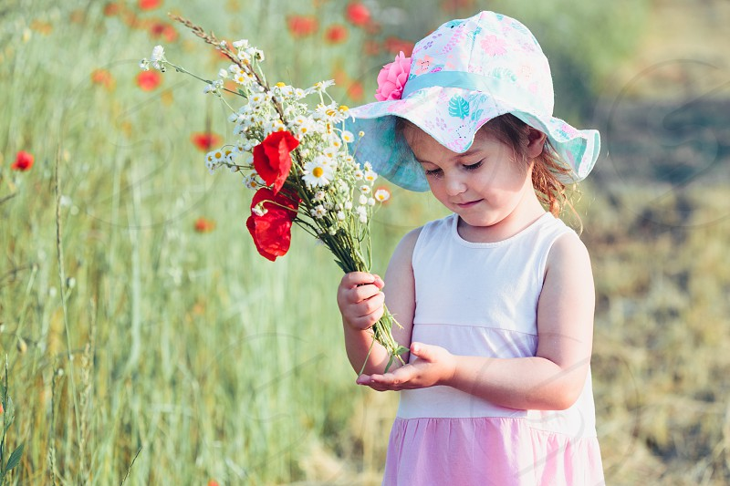 Lovely little girl in the field of wild flowers. Cute girl picking the spring flowers for her mom for Mother's Day in the meadow. Girl holding bouquet of flowers. Spending time close to nature photo