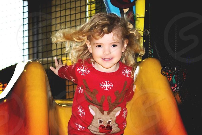 girl's red reindeer snowflake shirt photo